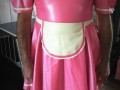 Georgina - Vivenne westward pink latex maids outfit with off white matching apron and shoes to match the dress