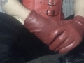 Short red leather gloves