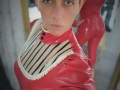 Vivenne Westwood red/white/black  latex all in one body suit