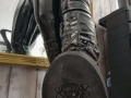 Black, PVC, Ruched, low heel boot