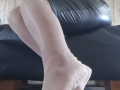 Light pink, nylon sole, seam stocking