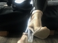 Transparent, biege trim. clear cuban heel boot