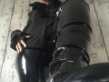 Black, PVC leggings, with thigh high boots