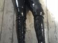 Black, PVC, heavily boned corset,leggings and thigh high, platform boots